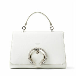 MADELINE TOP HANDLE Latte Calf Leather Top Handle Bag with Crystal Buckle
