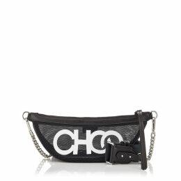 FAYE Black and White Mesh Belt Bag with Choo Logo