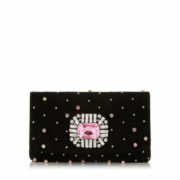 TITANIA Black Suede Clutch Bag with Embroidered Scattered Candyfloss Multi Crystals and Jewelled Centre Piece