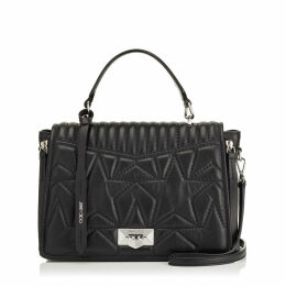 HELIA TOP HANDLE Top Handle Bag in Black and Silver Nappa Leather with Star Matelassé