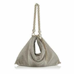 CALLIE Silver Chain Mail Mesh Clutch Bag with Chain Strap