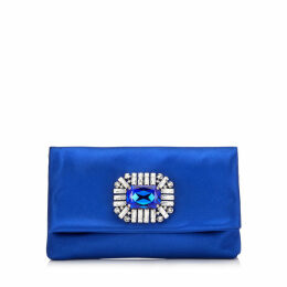 TITANIA Electric Blue Satin Clutch Bag with Jewelled Centre Piece