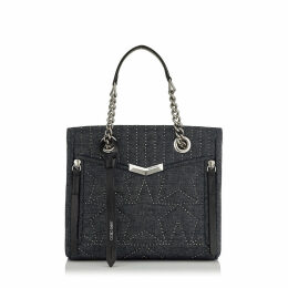 HELIA SHOPPER/S Small Navy Star Matelassé Denim with Leather Trim Shopper Bag with Mini Studs