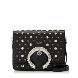 MADELINE SHOULDER BAG Black Nappa Leather Shoulder Bag with Crystal Buckle and Stars and Round Studs