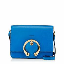 MADELINE SHOULDER Electric Blue Calf Leather Shoulder Bag with Metal Buckle