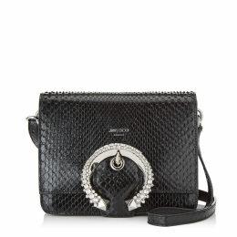 MADELINE SHOULDER Black Shiny Python Shoulder Bag with Crystal Buckle