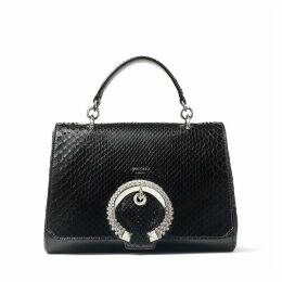 MADELINE TOP HANDLE Black Shiny Python Top Handle Bag with Crystal Buckle