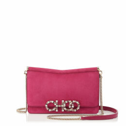 SIDNEY/M Raspberry Suede Cross Body Bag with Crystal Logo