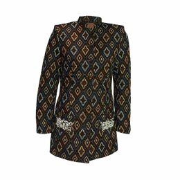 relax baby be cool - Women's Long Jacket With Pearl Embroidery Blue