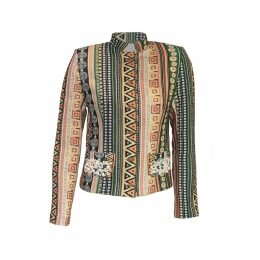relax baby be cool - Womens Short Jacket With Pearl Embroidery Green