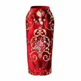 JIRI KALFAR - Royal Velvet Embroidery Floral Brocade Skirt