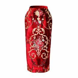 JIRI KALFAR - Royal Velvet Embroidery Floral Brocade Skirt