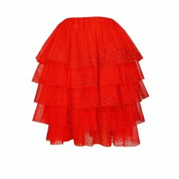 JIRI KALFAR - Red Organic Tulle Multi-Tiered Ruffle Skirt