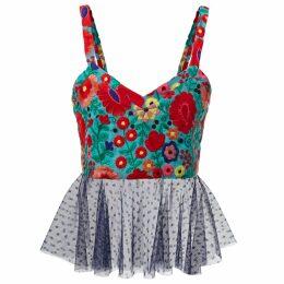 JIRI KALFAR - Royal Blue Velvet Top With Embroidery
