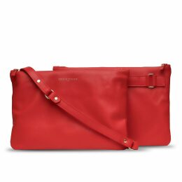 Holly & Tanager - Companion Max Leather Crossbody Clutch In Red