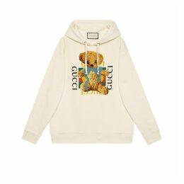 Oversize sweatshirt with Gucci logo and teddy bear