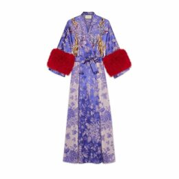 Floral jacquard wrap dress with feathers