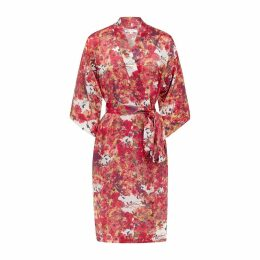 Genevie - Blackbirds Silk Kimono Robe