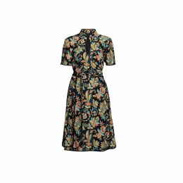 Rumour London - Akiko Kimono-Style Silk Wrap Dress With Oriental Floral Print In Black
