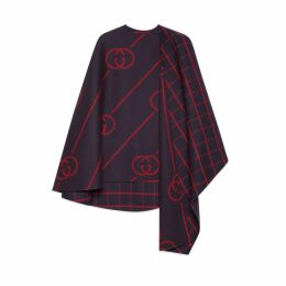 Wool cape coat with Interlocking G