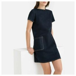 Denim Shift Dress with Patch Pockets