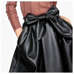 Faux Leather Skirt with Bow