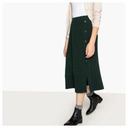 Pleated Knitted Midi Skirt