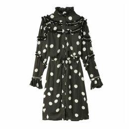 Ruffle Polka Dot Button-Up Dress