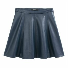 Faux Leather Short A-Line Skirt