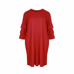 Round Neck Dress with Long Ruffled Sleeves