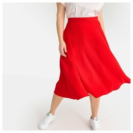 Plain Flared Midi Skirt