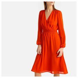 Smocked Wrapover Dress