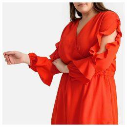 Flared Ruffled Wrapover Dress