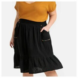 Embroidered Flared Midi Skirt