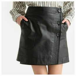 Leather Buttoned Wrapover Skirt