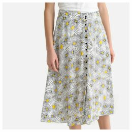 Floral Print Buttoned Midi Skirt