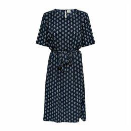 Printed Tie-Waist Midi Dress