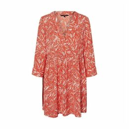 Flared Printed Wrapover Dress with Long Sleeves