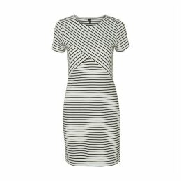 Vigga Striped Bodycon Dress with Short Sleeves