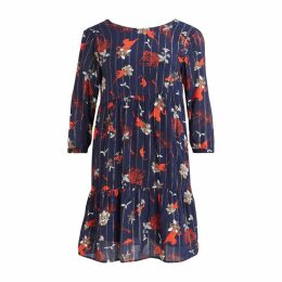 Viamollon Floral Print Dress with 3/4 Length Sleeves