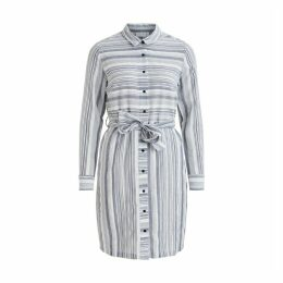 Striped Cotton Shirt Dress with Tie-Waist