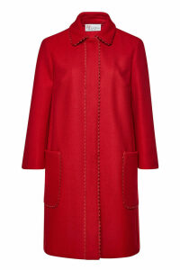 RED Valentino Wool-Cashmere Coat with Scalloped Trim