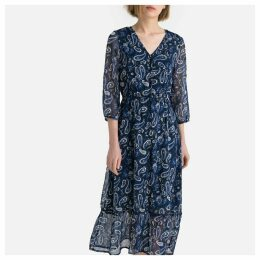 Paisley Print Buttoned Midi Dress