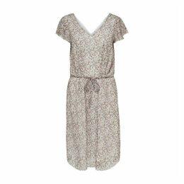Jennifer Floral Print Midi Dress with Tie-Waist