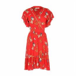 Floral Print Wrapover Dress with Ruffled Sleeves and Hem