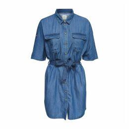 Denim Tie-Waist Shirt Dress