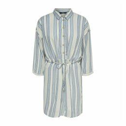 Striped Long-Sleeved Shirt Dress