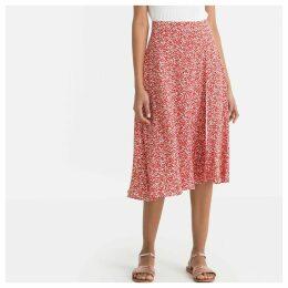 Floral Print Wrapover Flared Midi Skirt