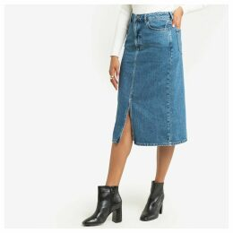 Denim Straight Midi Skirt