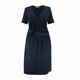 Cotton Wrapover Midi Dress with Tie-Waist